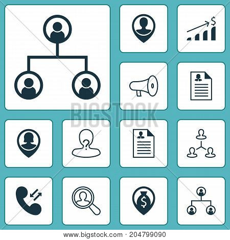 Management Icons Set. Collection Of Bullhorn, Female Pin, Find Employee And Other Elements