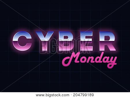 Cyber Monday sale hi-tech background, online shopping and marketing concept, technology vector illustration. Retro Chrome Text Effect Retailing and discount theme. Flyer, poster template with letters