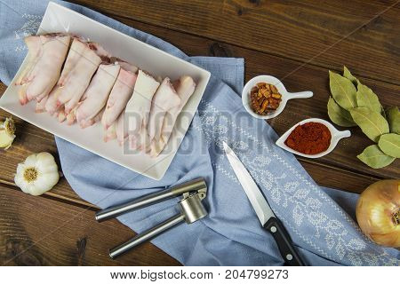 Raw Crubeens Or Pig Trotters To Cook