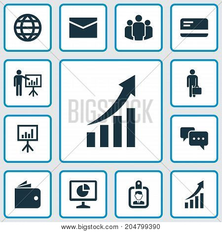 Trade Icons Set. Collection Of Envelope, Presenting Man, Payment And Other Elements