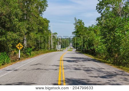 Rural Asphalt Road In Thailand Province