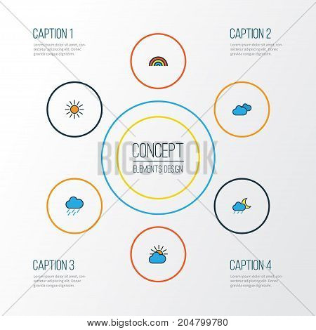 Climate Colorful Outline Icons Set. Collection Of Hazy, Overcast Weather, Clouded And Other Elements
