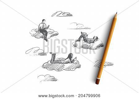 Social media concept. Hand drawn people connected with digital devices. Men and women have communication through the internet isolated vector illustration.