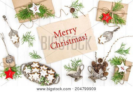 Christmas cookies gifts decorations. Flat Lay. Merry Christmas!