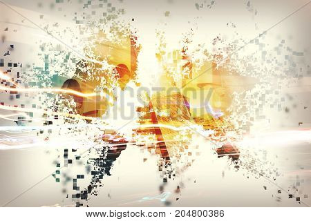 Abstract modern world with businessperson. Concept of global internet sharing. Double exposure