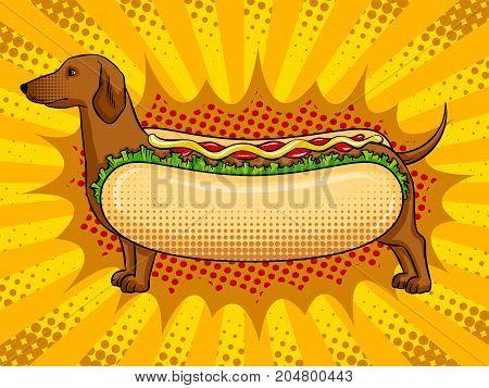 Hot dog funny metaphor pop art retro vector illustration. Fast food. Comic book style imitation.