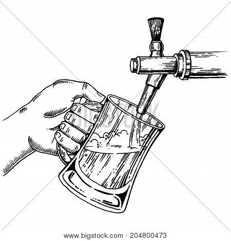 Man pours beer into glass from beer tap engraving vector illustration. Scratch board style imitation. Hand drawn image.