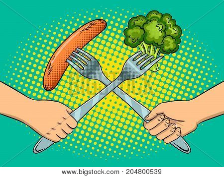 Fight on forks kitchen utensils pop art retro vector illustration. Vegetarian and meat eater battle metaphor. Comic book style imitation.
