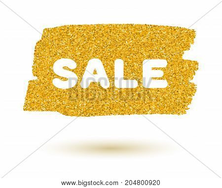 Gold sparkling brush strokes isolated on white background. Golden glitter spot with text Sale