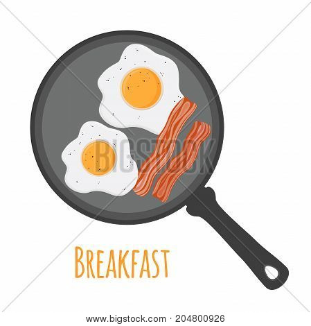 English breakfast - egg, bacon on pan. Fried meat with egg. Made in cartoon flat style. Vector illustration