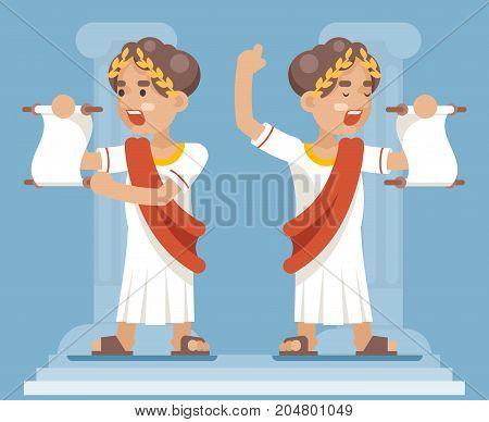 Scroll Declaration Roman Greek Retro Vintage Businessman Cartoon CharacterIcon Design Flat Vector Illustration