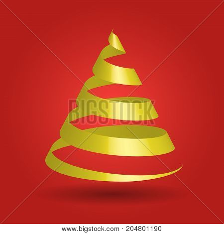Simple golden ribbon in a shape of Christmas tree. Modern and elegant Merry Christmas theme. 3D vector illustration with dropped shadow and red gradient background.