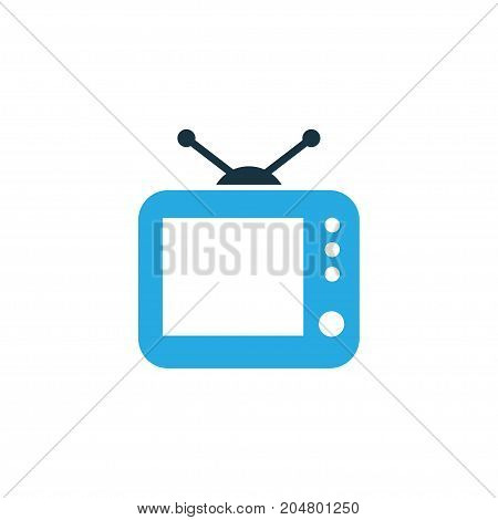 Premium Quality Isolated Television Element In Trendy Style.  Tv Colorful Icon Symbol.