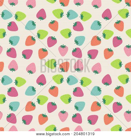 Seamless pattern with juicy strawberries on black background. Cute vector background. Bright summer fruits illustration. Fruit mix design for fabric and decor.Funny wallpaper for textile and fabric.