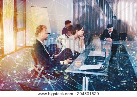 Silhouette of businessperson in office with network effect. concept of partnership and teamwork