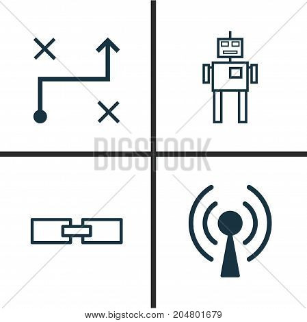 Learning Icons Set. Collection Of Related Information, Solution, Cyborg And Other Elements