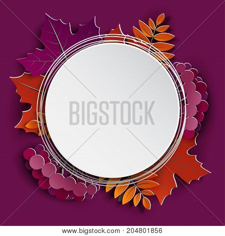 Autumn floral paper cut frame and paper colorful tree leaves on purple background. Autumnal design for fall season sale banner poster flyer web site paper craft style vector illustration