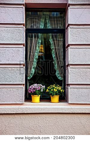 Beautiful window with curtains and flowerpots with flowers on the windowsill