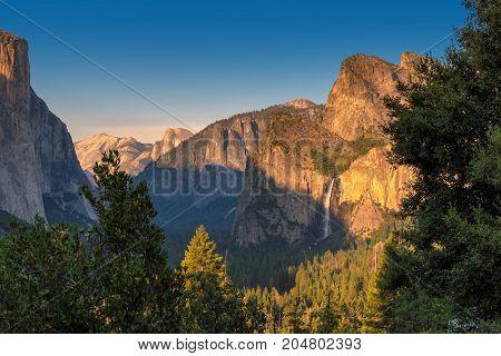 Yosemite Falls at sunset, Yosemite National Park, California