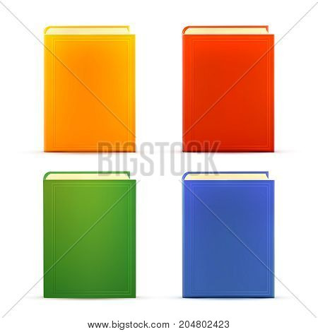 Bright colored realistic books with blank cover isolated on white. Design template. Vector illustration.