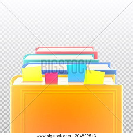 Bright colored realistic books in row with bookmarks and blank cover isolated. Design template. Vector illustration.