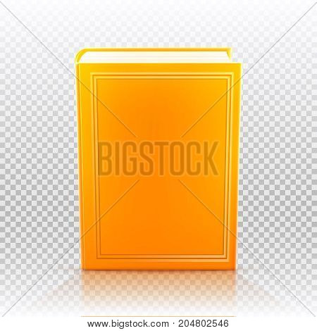 Bright colored realistic book with blank cover isolated. Design template. Vector illustration.