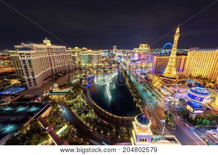 World famous Las Vegas Strip at night on July 25, 2017 in Las Vegas, USA.