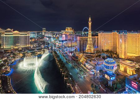 Aerial view of Las Vegas strip at night on July 25, 2017 in Las Vegas, USA.