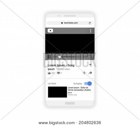 Realistic white smartphone mockup isolated on white, vector illustration. Video player screen, portrait mode, empty screens. Media player network template design. Mobile video player interface.