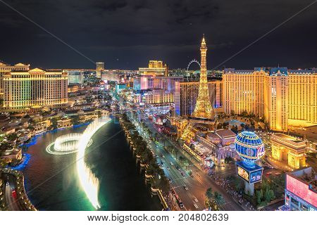 Aerial view of Las Vegas strip in Nevada at night on July 25, 2017 in Las Vegas, USA.