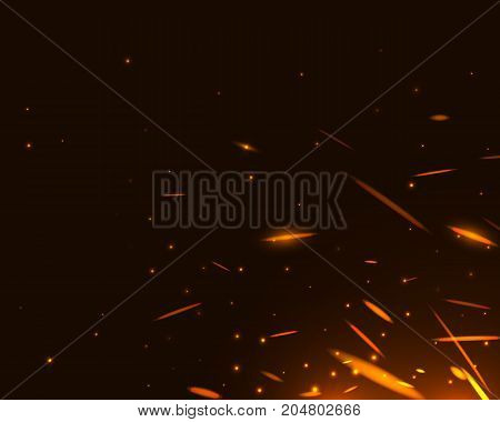 Realistic fire sparks on black background. Vector illustration template element for christmas firework design.