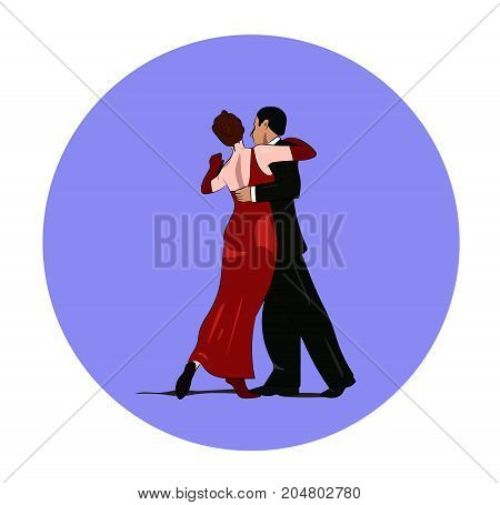 Dance pair in tango passion isolated retro cartoon style vector banner, ads, sign, icon