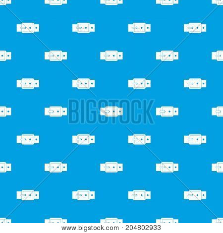 Black buckle belt pattern repeat seamless in blue color for any design. Vector geometric illustration