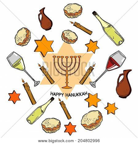 Happy Hanukkah holiday greeting background. Vector illustration, EPS 10
