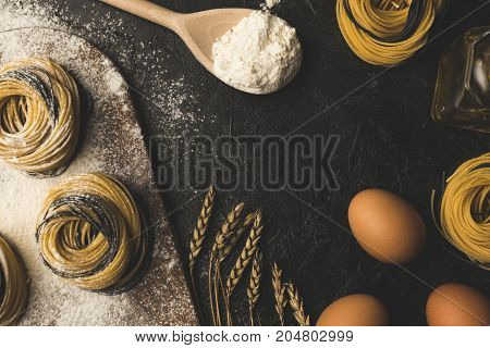 Raw Pasta And Ingredients Composition