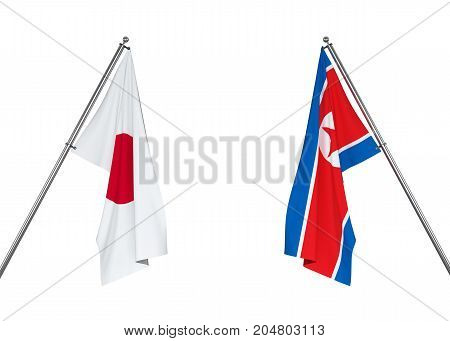 Japan flag and North Korea flag on white background with clipping path. 3D illustration