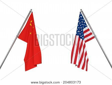 China flag and USA flag on white background with clipping path. 3D illustration