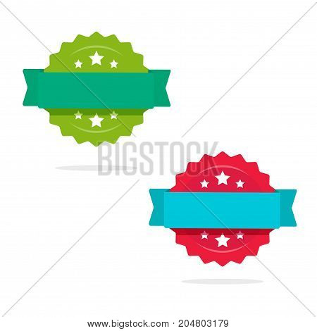 Rosette with ribbon icons vector set isolated on white, flat style award or sale tag or badge, idea of quality or warranty stickers with empty blank space