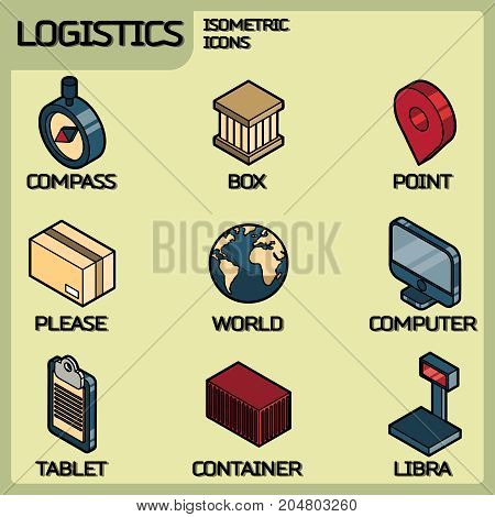Logistics color outline isometric icons. Vector illustration, EPS 10