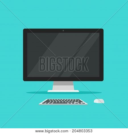 Monitor keyboard and mouse vector illustration isolated on color background flat cartoon style, idea of computer workplace, working table, work desk with pc