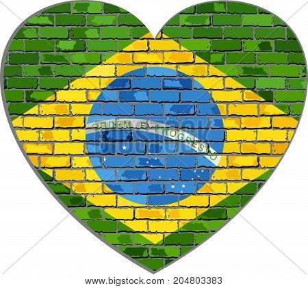Flag of Brazil on a brick wall in heart shape - Illustration, Abstract grunge Brazil flag