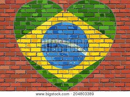 Flag of the Brazil in a heart on a brick wall,  Abstract grunge Brazil flag