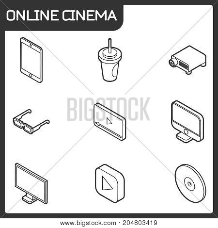 Online cinema outline isometric icons . Vector illustration, EPS 10