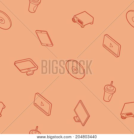 Online cinema outline isometric pattern . Vector illustration, EPS 10
