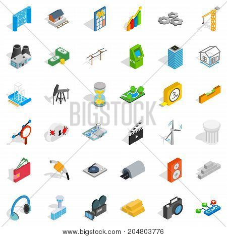 Calculator icons set. Isometric style of 36 calculator vector icons for web isolated on white background