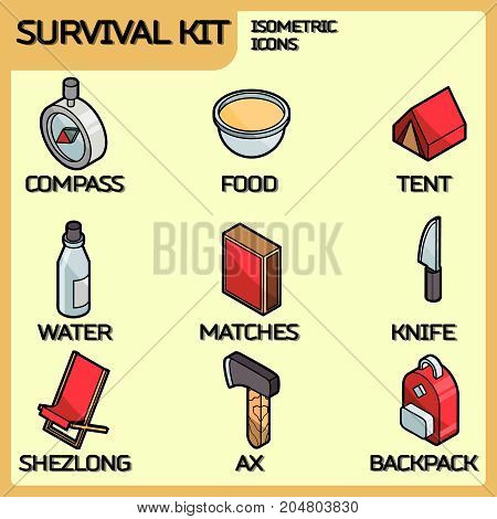 Survival kit color outline isometric icons. Vector illustration, EPS 10