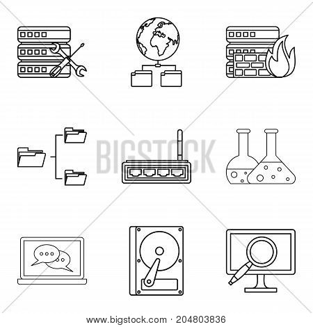 Book icons set. Outline set of 9 book vector icons for web isolated on white background