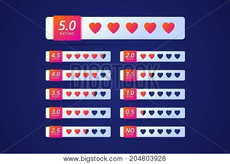 Hotel or site or product rating with colorful heart symbol. There are buttons from no rating to five hearts. Vector illustration in modern gradient style.
