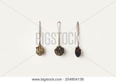 Dry Herbs In Spoons