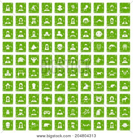 100 avatar icons set in grunge style green color isolated on white background vector illustration